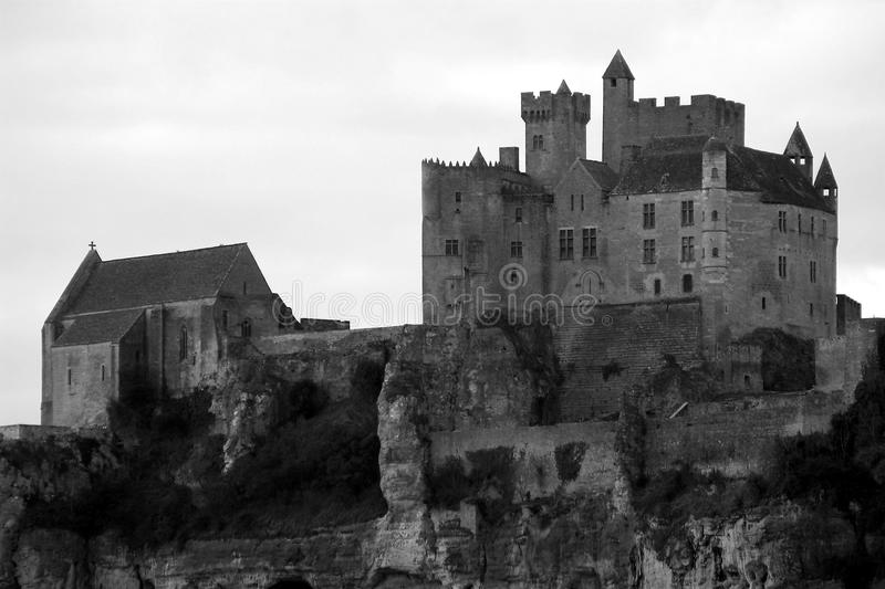 Black and White Beynac Castle in Perigord, France stock photo