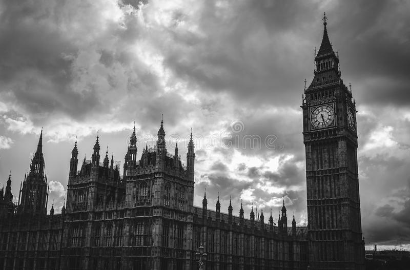 Black and white Big Ben, London royalty free stock image