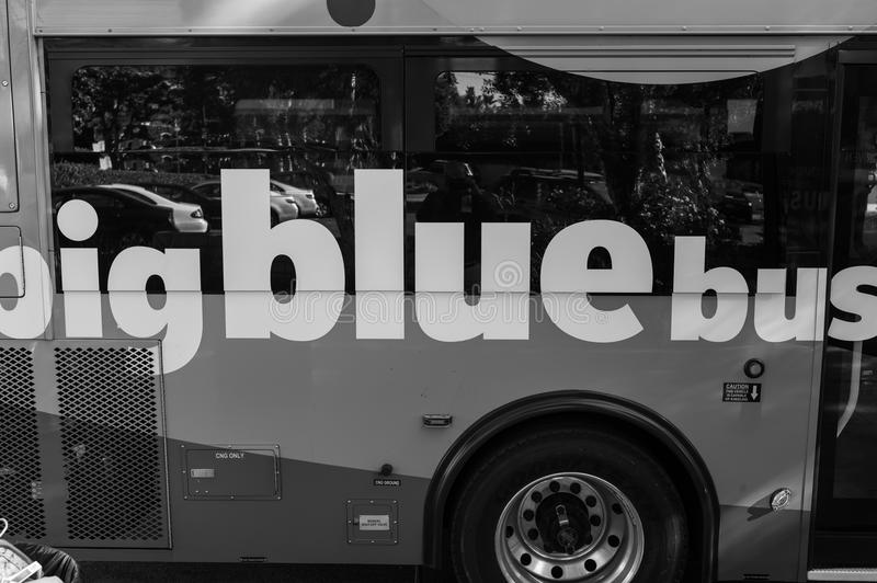 Black And White Big Blue Bus, Los Angeles Editorial Photo