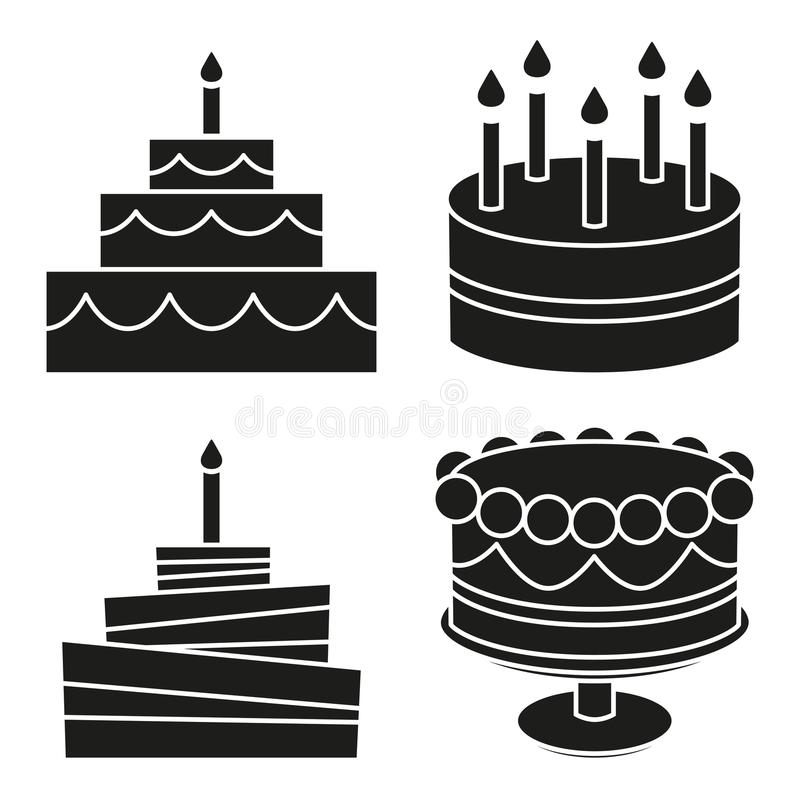 Black and white birthday cake silhouette set royalty free illustration
