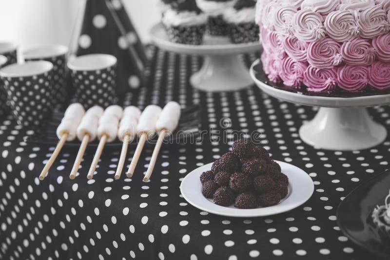 Black And White Birthday party decoration stock photos