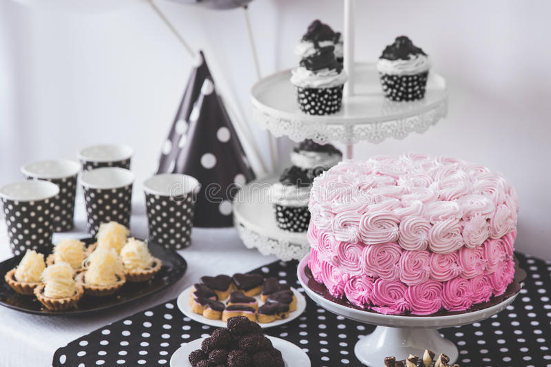 Black And White Birthday party decoration royalty free stock photography