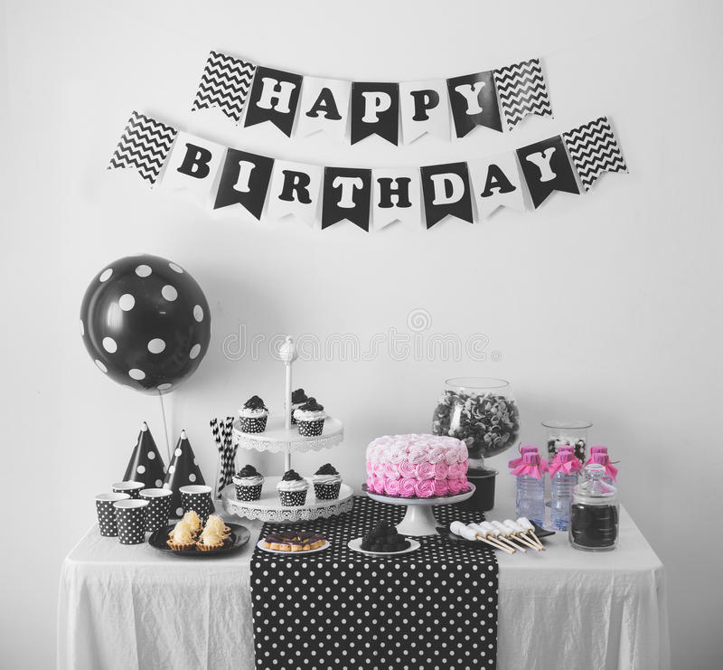 Black And White Birthday party decoration royalty free stock images