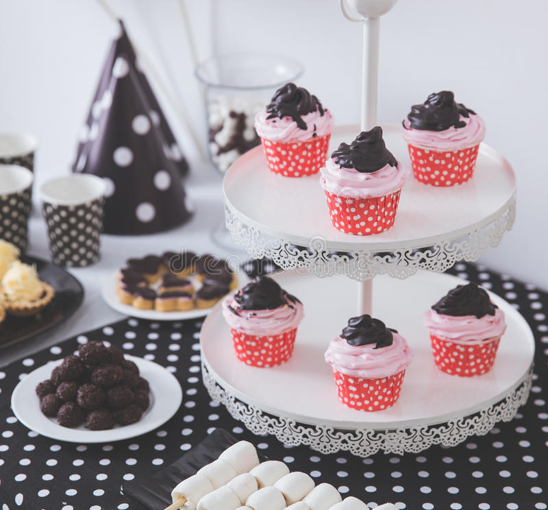 Black And White Birthday party decoration stock photo
