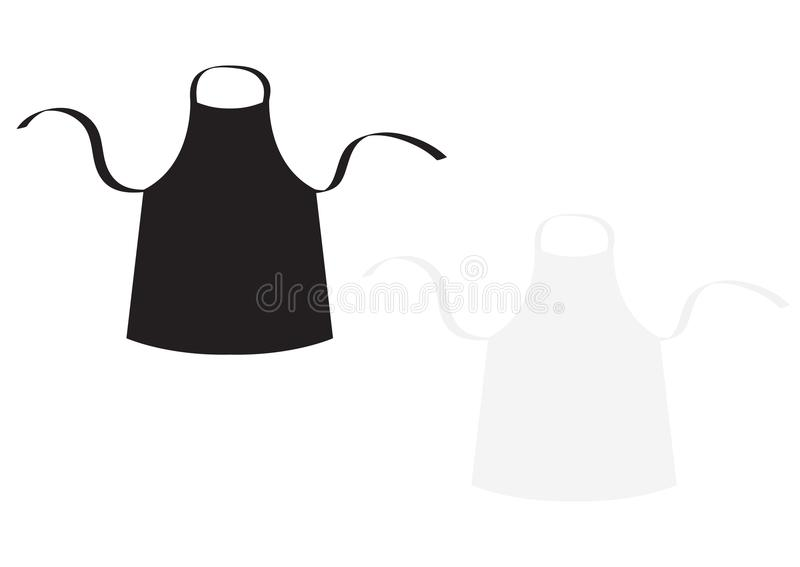 Black and white blank kitchen cotton apron set. Uniform for cook chef or baker. Cooking icon. Menu card template. Flat design. Iso. Lated background. Vector vector illustration