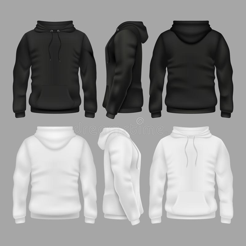 Black and white blank sweatshirt hoodie vector templates vector illustration
