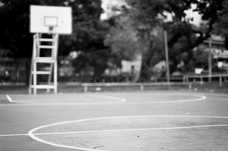 Black and white Blurred of  Outdoor basketball court stock images