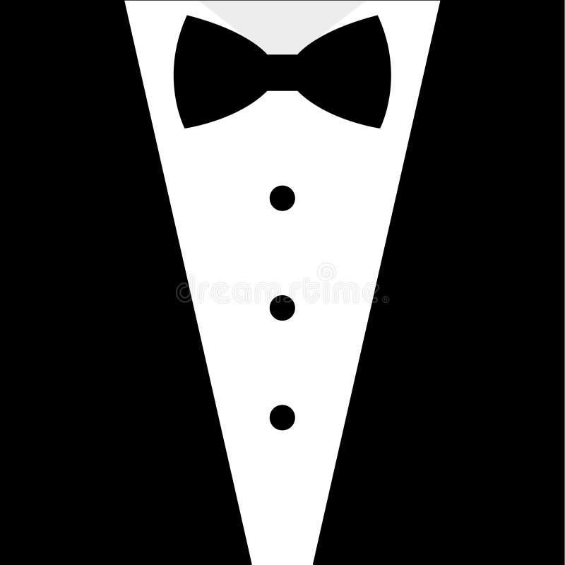 Black and white bow tie tuxedo vector illustration
