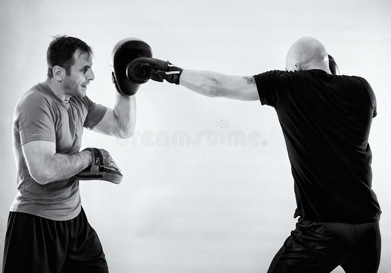 Black and white of boxer with trainer. Boxer and his coach hitting mitts, black and white image royalty free stock image