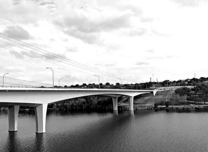 Black and white bridge over the Colorado River stock photography