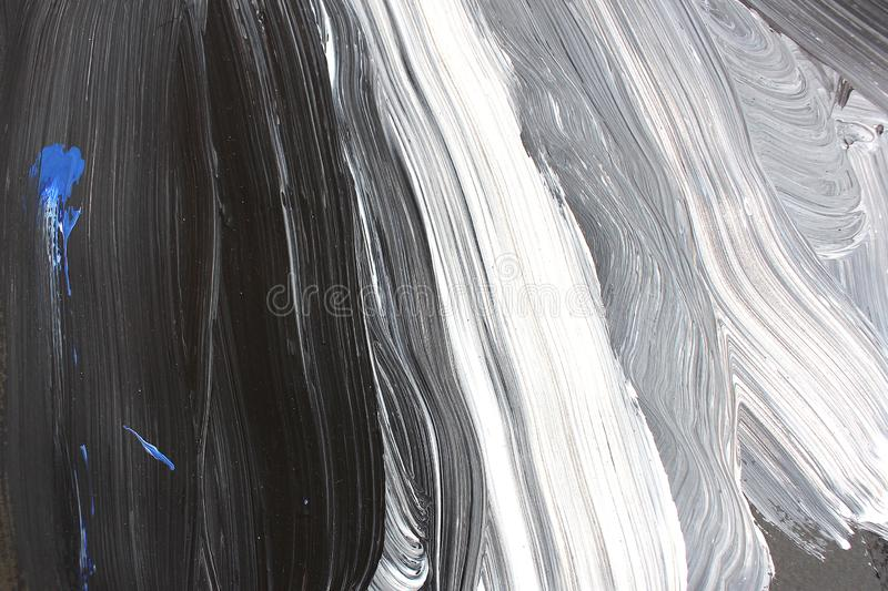 Black and white brush strokes on canvas. Abstract art background. Color texture. Fragment of artwork. abstract painting on canvas stock images
