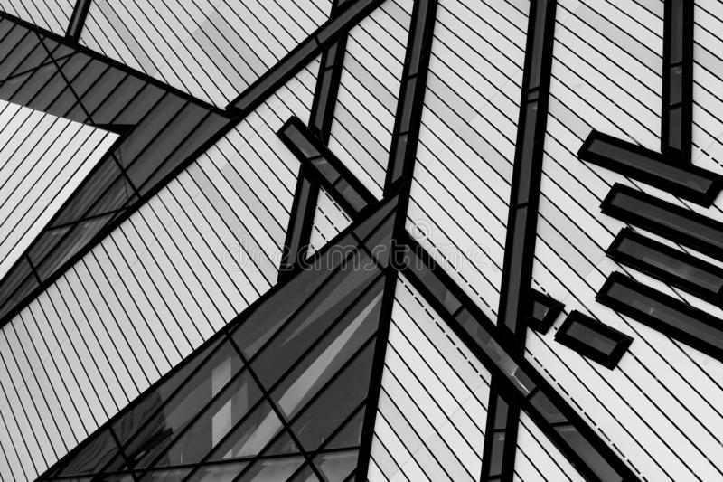 Black and white building lines. Of the Royal Ontario Museum downtown Toronto. Modern Architecture royalty free stock images