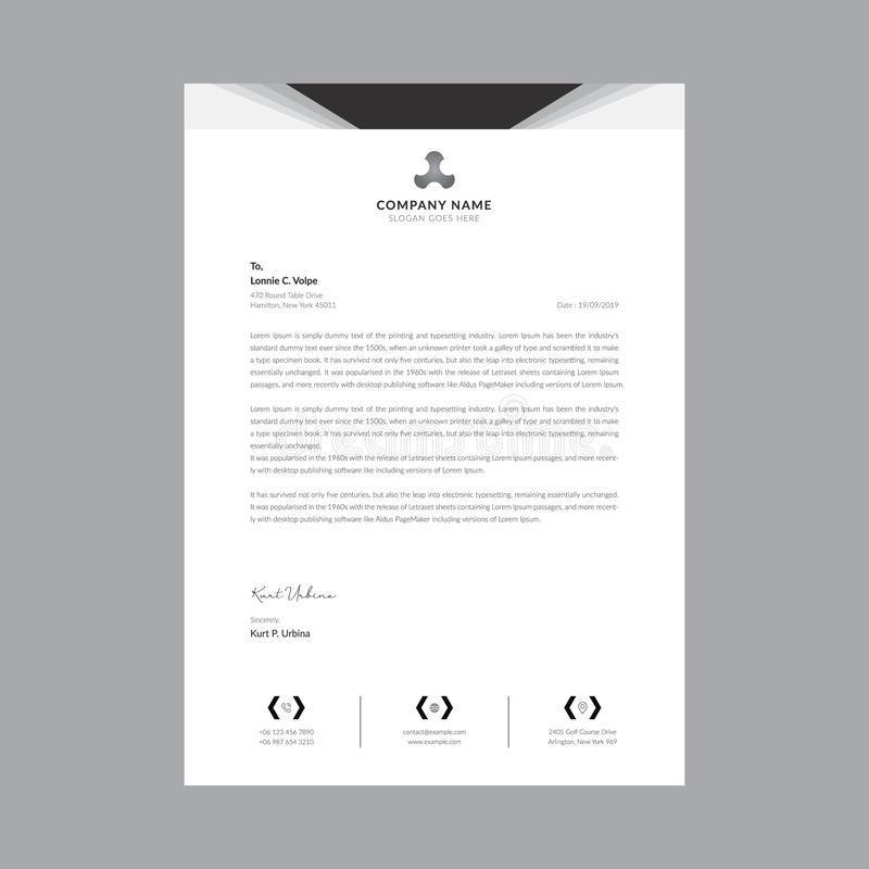 Black and white business letterhead templates royalty free illustration