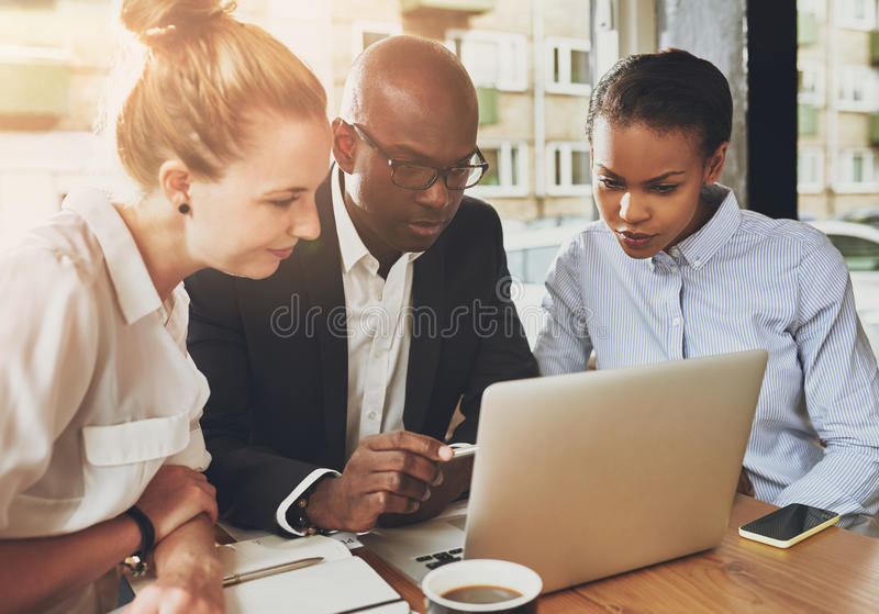 Black and white business people working royalty free stock image