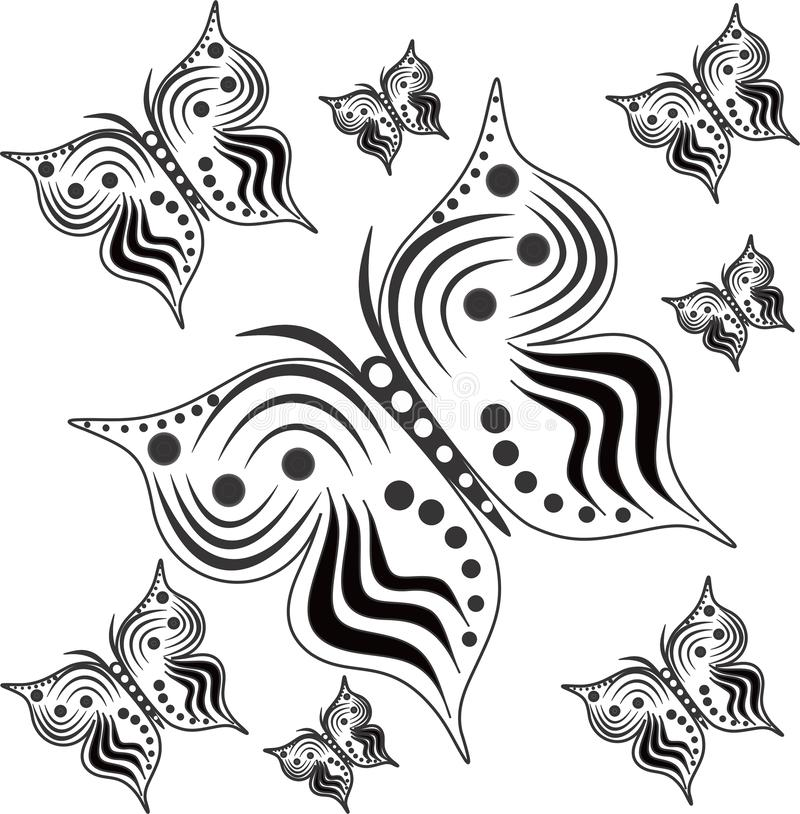Black and white butterflies with different sizes vector illustration