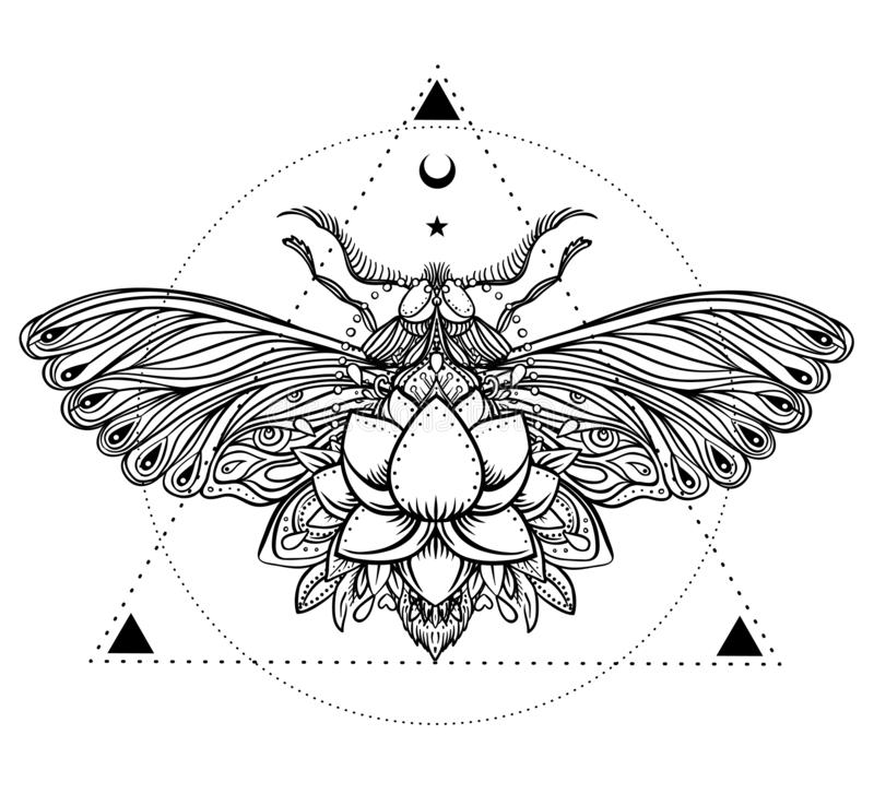 Black and white butterfly over sacred geometry sign, isolated vector illustration. Tattoo sketch. Mystical symbols and insects. A vector illustration
