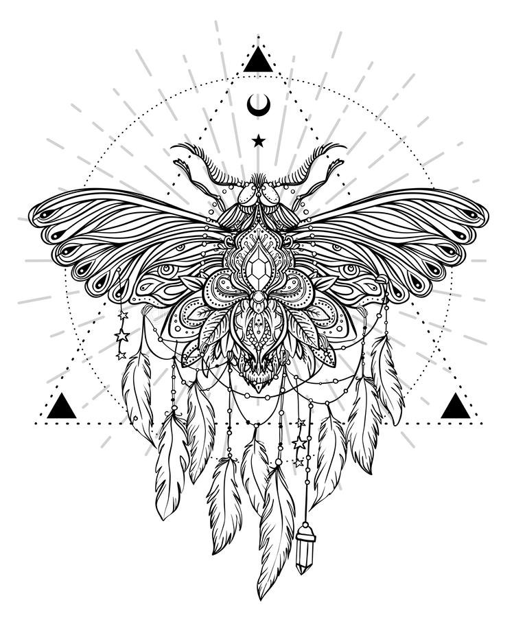 Black and white butterfly over sacred geometry sign, isolated vector illustration. Tattoo sketch. Mystical symbols and insects. A. Lchemy, occultism vector illustration