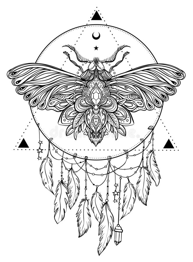 Black and white butterfly over sacred geometry sign, isolated vector illustration. Tattoo sketch. Mystical symbols and insects. A. Lchemy, occultism stock illustration