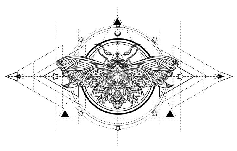 Black and white butterfly over sacred geometry sign, isolated vector illustration. Tattoo sketch. Mystical symbols and insects. A stock illustration