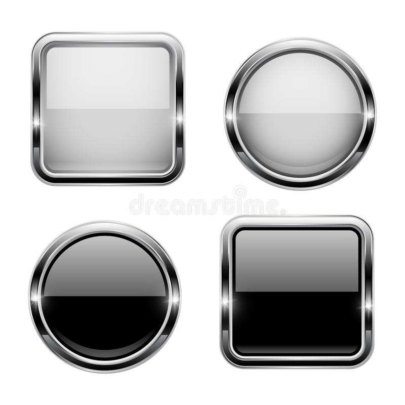 Black and white buttons with chrome frame. Round and square glass shiny 3d icons. Vector illustration isolated on white background vector illustration