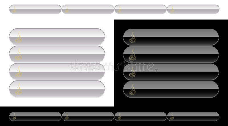 Black and white buttons for web stock illustration