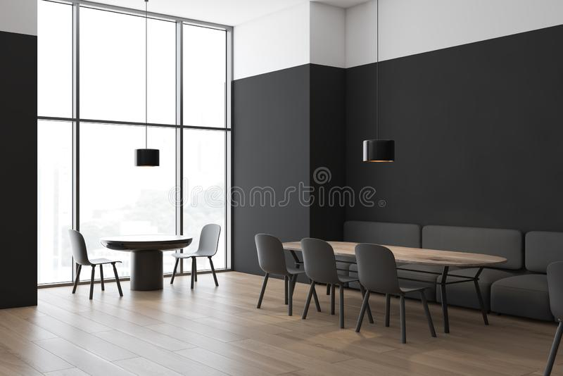 Black and white cafe corner with sofa vector illustration