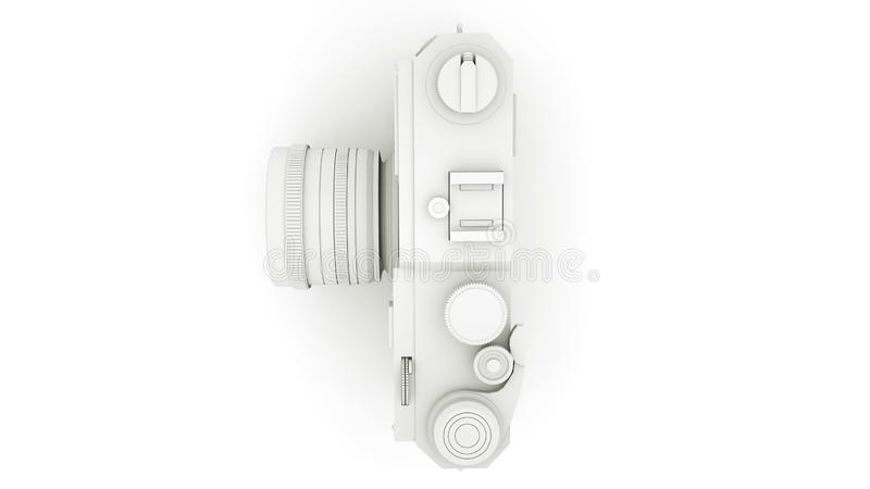 Black and White Camera 3D illustration. Top view vector illustration