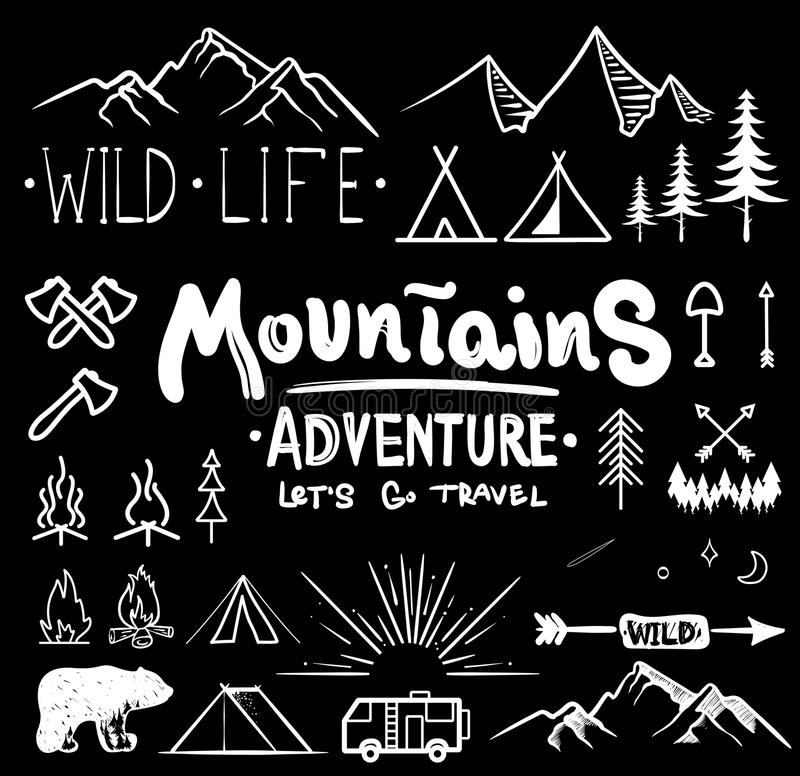 Black and white camping collection of icon made with ink and brush. Doodle style. Hand drawn set of adventure items. Campfire, mountains, wildlife, bear, tent stock illustration