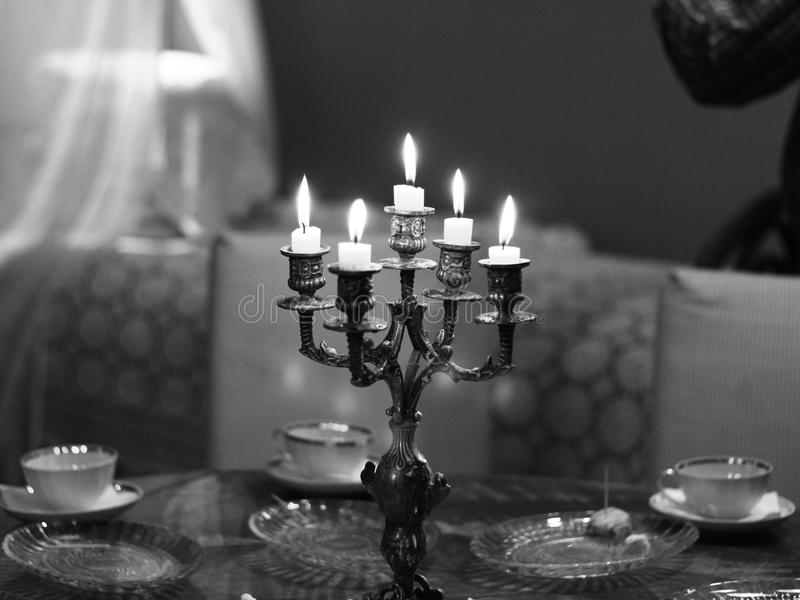 Black-and-white, Candlelight, Candles stock photo
