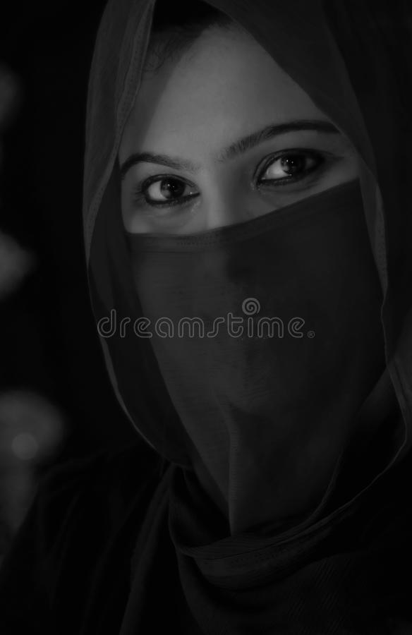 Black and white - Candlelight Portrait of an India stock photography
