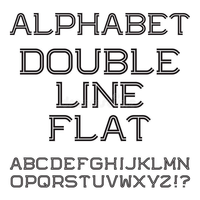 Download Black White Capital Letters Double Line Flat Font Stock Vector