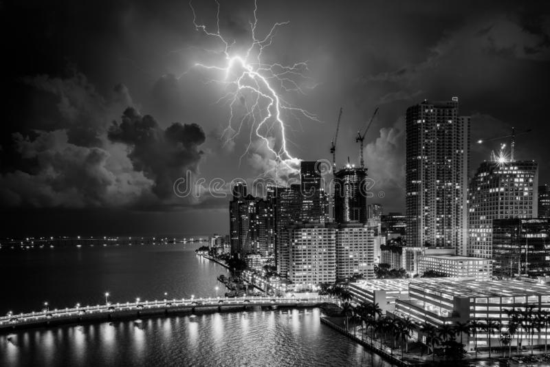 Electrical summer Storm over Miami cityscape stock photography