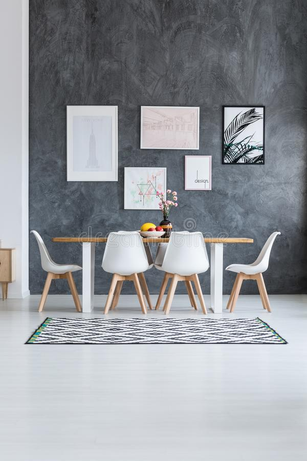 Scandi dining room with posters vector illustration