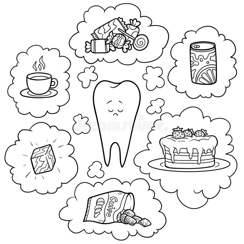 Black and white cartoon illustration. Bad food for the teeth. Educational poster for children. About health royalty free illustration