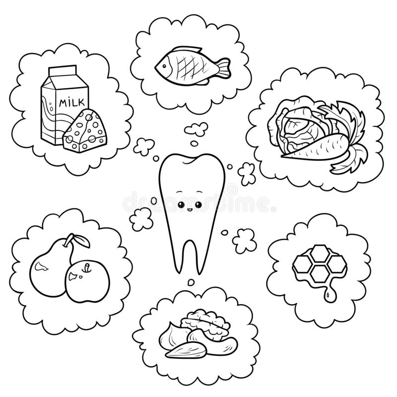 Black and white cartoon illustration. Good food for teeth. Educational poster for children about health stock illustration