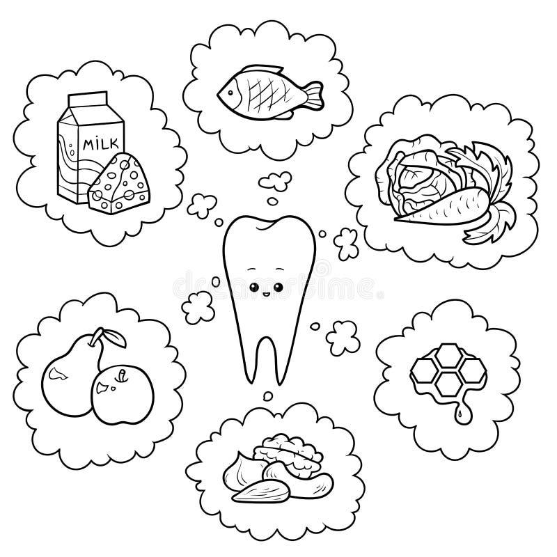 Black and white cartoon illustration. Good food for teeth stock illustration