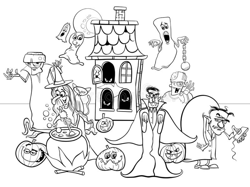 Halloween Holiday Cartoon Characters Coloring Book Stock Vector -  Illustration Of Evil, Coloring: 126802102
