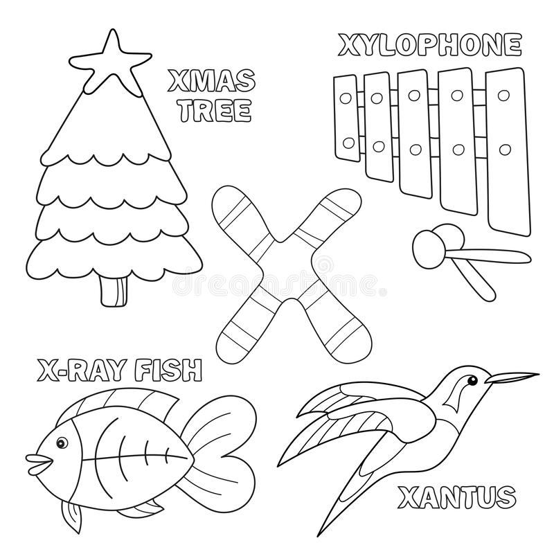 Black and White Cartoon Illustration of Letter X alphabet for kids coloring book vector illustration