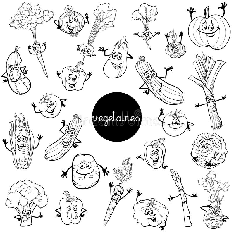 Cartoon Vegetables Characters Set Color Book Stock Vector ...