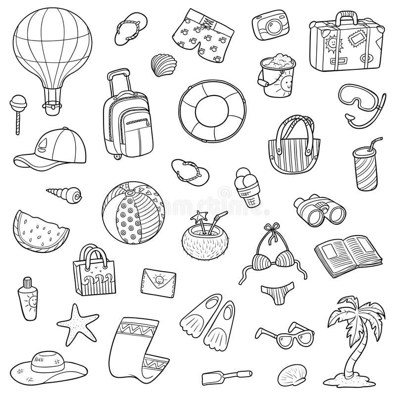 Black and white cartoon set of summer objects stock illustration