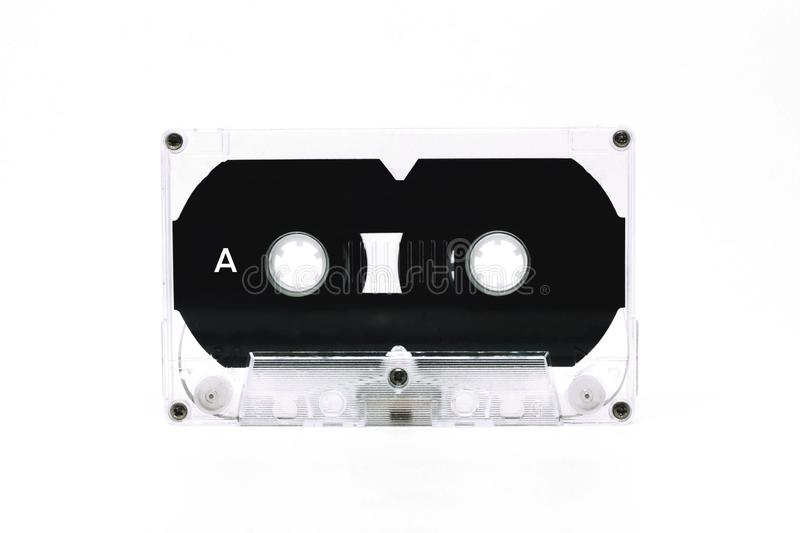 Black and white cassette tape isolate on white background stock photos
