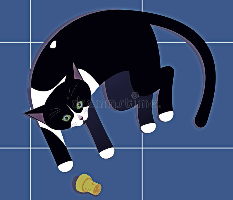 Black and white cat. Laying cat playing with cork royalty free illustration