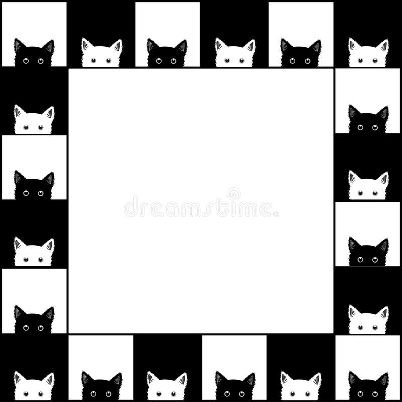 Black White Cat Chess board Border Background. Vector Illustration vector illustration