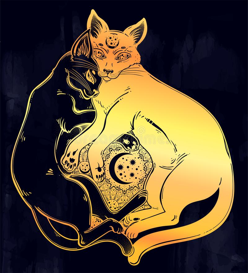 Black and white cat dualism of day and night. Spiritual opposites. stock illustration