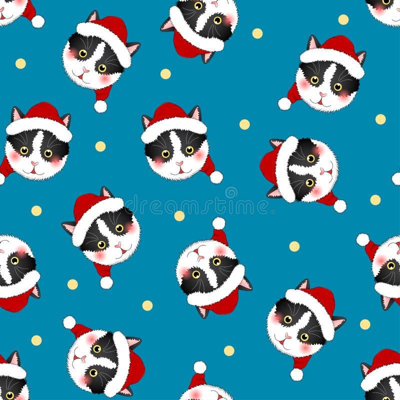 Black White Cat Santa Claus on Indigo Blue Background. Vector Illustration stock illustration
