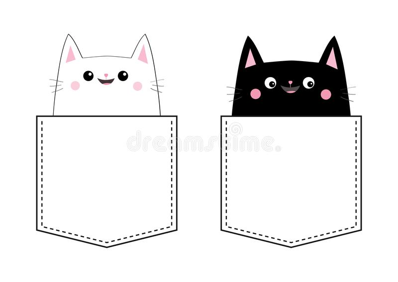 Black white cat set Love couple in the pocket. Pink cheek. Cute cartoon pet animals. Kitten kitty character. Dash line. Happy Vale. Ntines Day. T-shirt design royalty free illustration