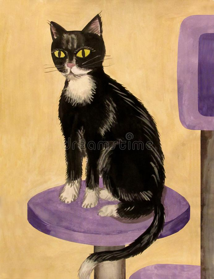 Black and white cat sitting on a cat roost gouache royalty free stock photo