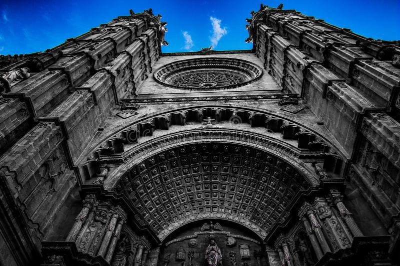 Black and white cathedral royalty free stock photo