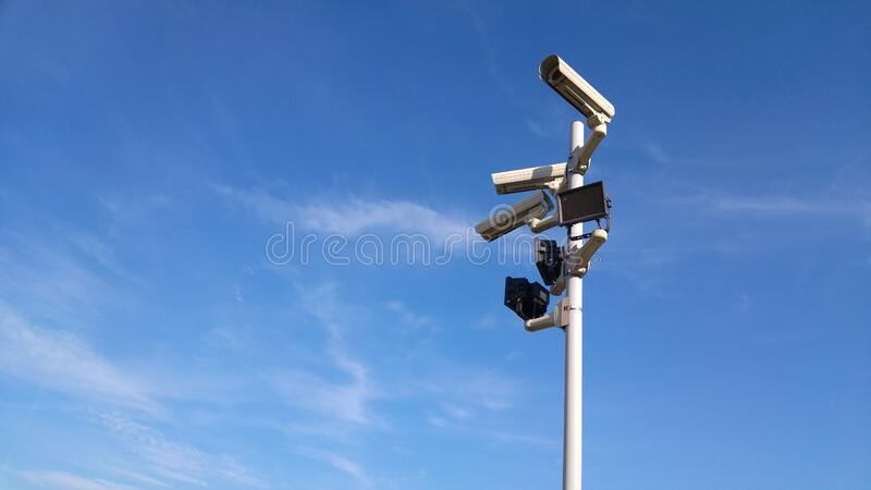 Black and White Cctv Cameras royalty free stock photography