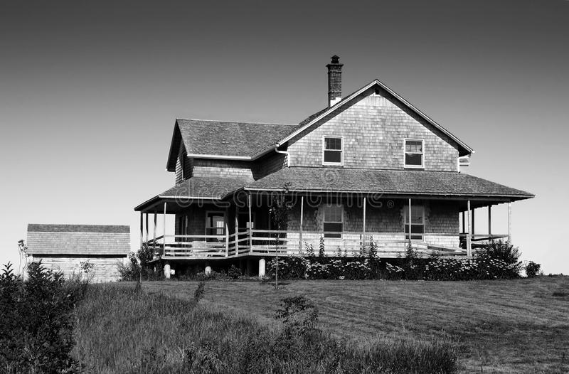 Black And White Of Cedar Shingle House Stock Images